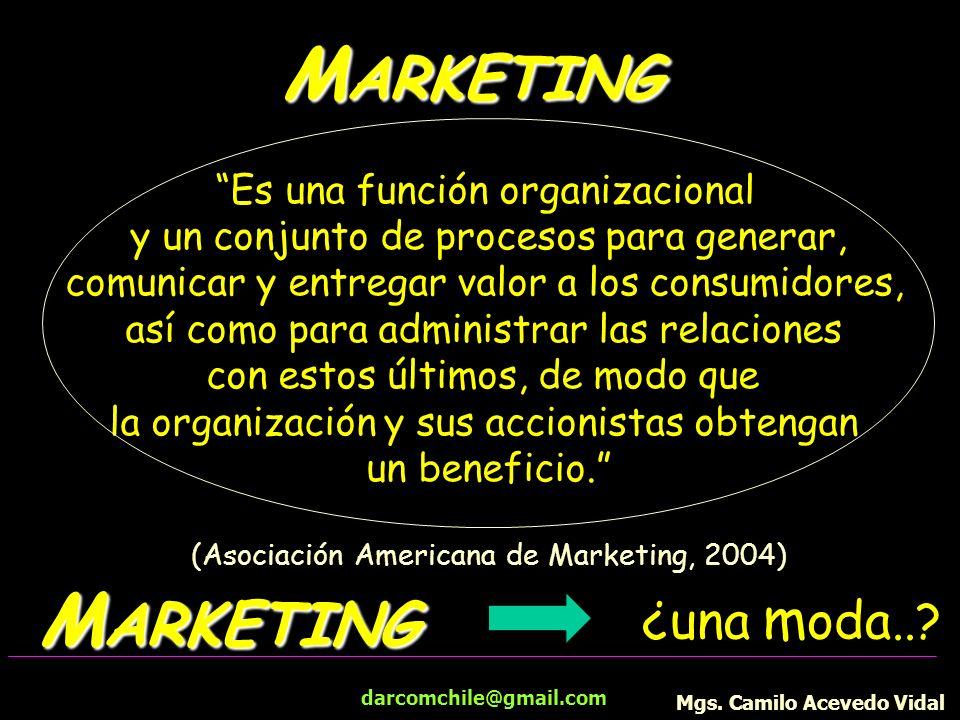 darcomchile@gmail.com M ARKETING Es una función organizacional y un conjunto de procesos para generar, comunicar y entregar valor a los consumidores,