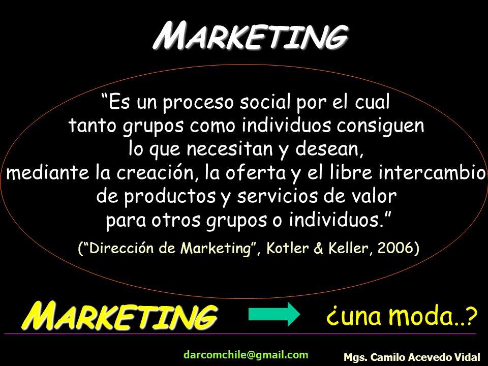 darcomchile@gmail.com M ARKETING Es un proceso social por el cual tanto grupos como individuos consiguen lo que necesitan y desean, mediante la creaci