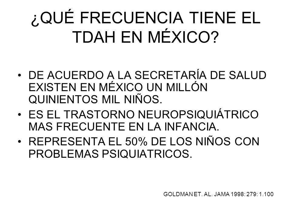 ¿QUÉ FRECUENCIA TIENE EL TDAH EN MÉXICO? DE ACUERDO A LA SECRETARÍA DE SALUD EXISTEN EN MÉXICO UN MILLÓN QUINIENTOS MIL NIÑOS. ES EL TRASTORNO NEUROPS
