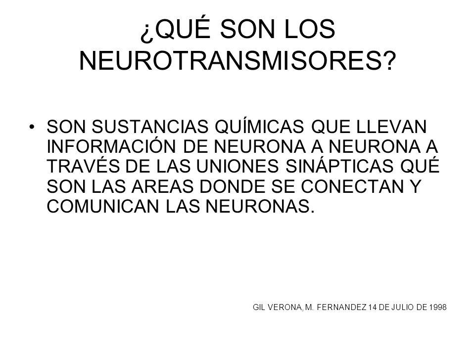 ¿QUÉ SON LOS NEUROTRANSMISORES? SON SUSTANCIAS QUÍMICAS QUE LLEVAN INFORMACIÓN DE NEURONA A NEURONA A TRAVÉS DE LAS UNIONES SINÁPTICAS QUÉ SON LAS ARE