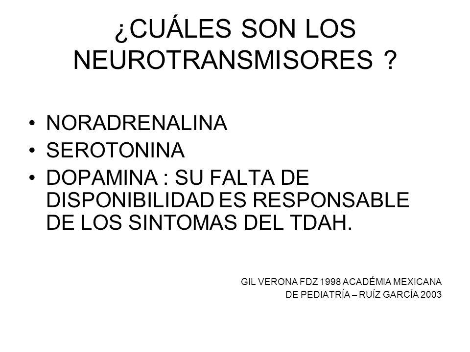 ¿CUÁLES SON LOS NEUROTRANSMISORES ? NORADRENALINA SEROTONINA DOPAMINA : SU FALTA DE DISPONIBILIDAD ES RESPONSABLE DE LOS SINTOMAS DEL TDAH. GIL VERONA