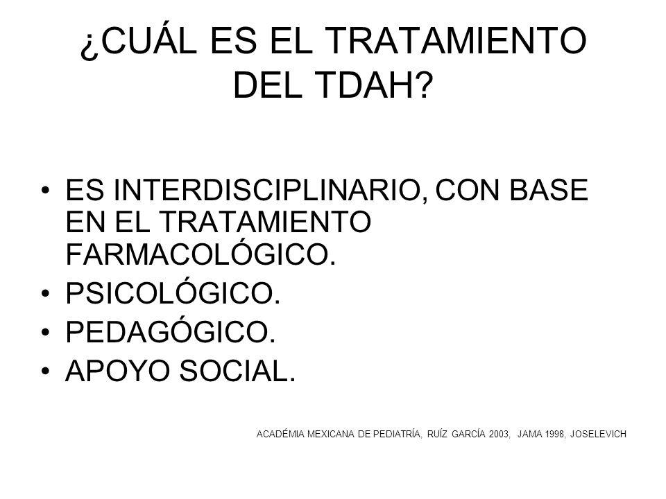 ¿CUÁL ES EL TRATAMIENTO DEL TDAH? ES INTERDISCIPLINARIO, CON BASE EN EL TRATAMIENTO FARMACOLÓGICO. PSICOLÓGICO. PEDAGÓGICO. APOYO SOCIAL. ACADÉMIA MEX