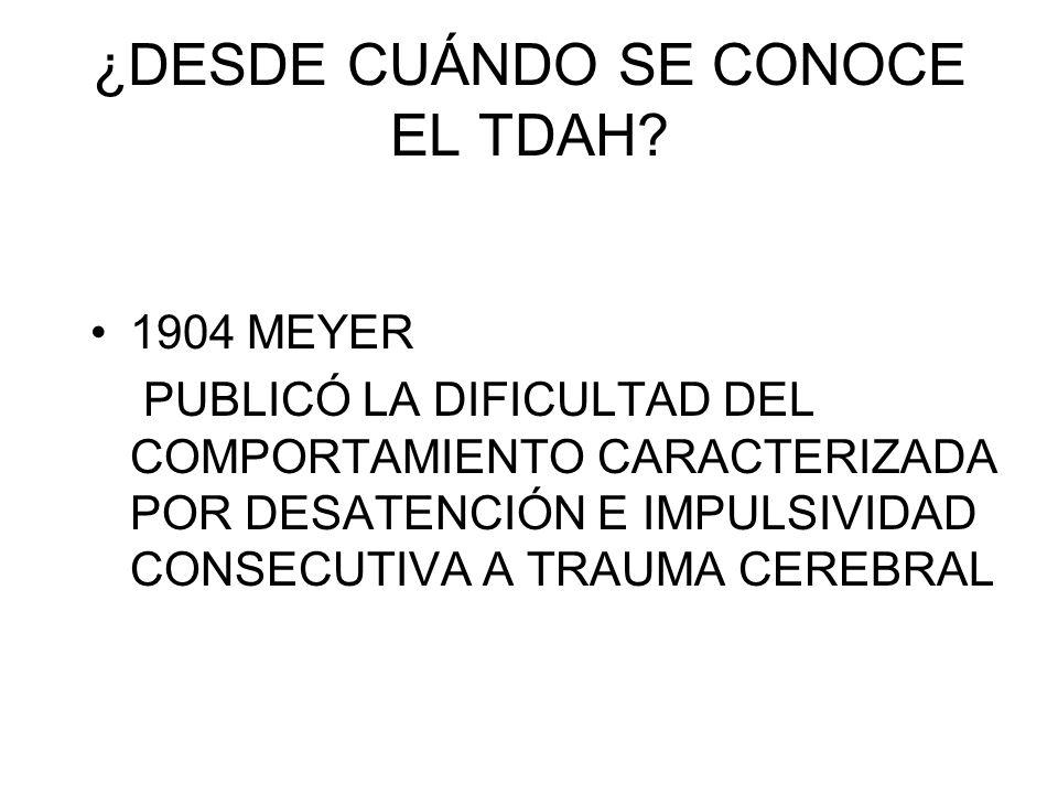 ¿DESDE CUÁNDO SE CONOCE EL TDAH.