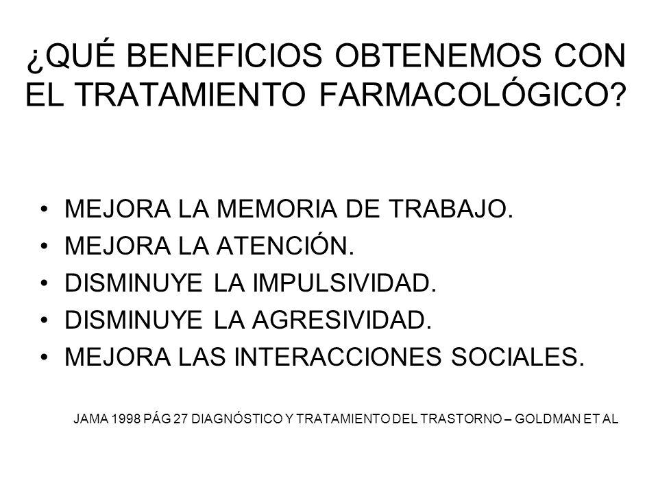 ¿QUÉ BENEFICIOS OBTENEMOS CON EL TRATAMIENTO FARMACOLÓGICO? MEJORA LA MEMORIA DE TRABAJO. MEJORA LA ATENCIÓN. DISMINUYE LA IMPULSIVIDAD. DISMINUYE LA