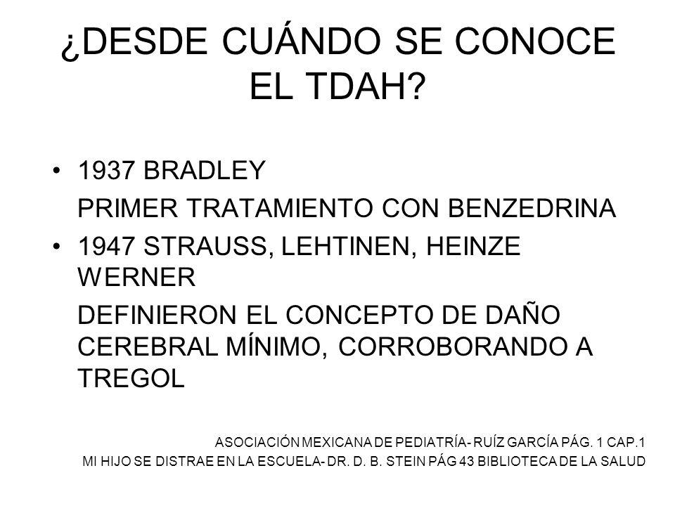 ¿DESDE CUÁNDO SE CONOCE EL TDAH? 1937 BRADLEY PRIMER TRATAMIENTO CON BENZEDRINA 1947 STRAUSS, LEHTINEN, HEINZE WERNER DEFINIERON EL CONCEPTO DE DAÑO C