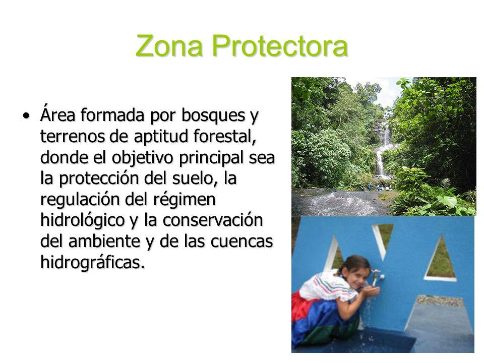 Zona Protectora Área formada por bosques y terrenos de aptitud forestal, donde el objetivo principal sea la protección del suelo, la regulación del ré