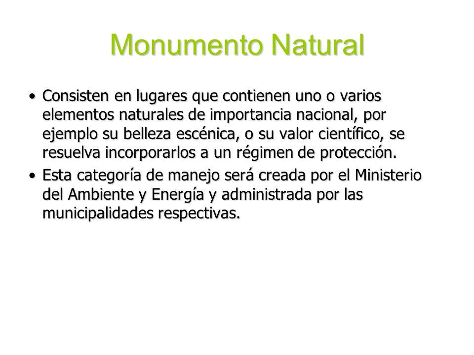 Monumento Natural Consisten en lugares que contienen uno o varios elementos naturales de importancia nacional, por ejemplo su belleza escénica, o su v