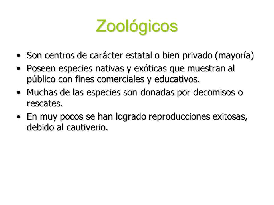 Zoológicos Son centros de carácter estatal o bien privado (mayoría)Son centros de carácter estatal o bien privado (mayoría) Poseen especies nativas y
