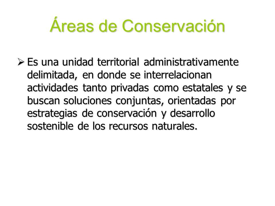 Áreas de Conservación Es una unidad territorial administrativamente delimitada, en donde se interrelacionan actividades tanto privadas como estatales