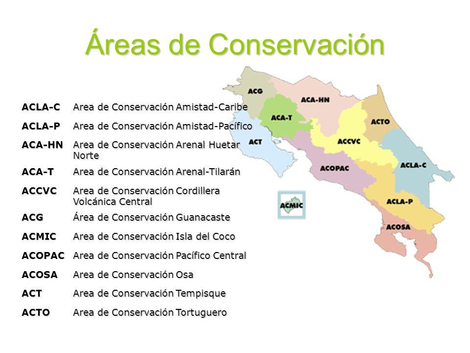 Áreas de Conservación ACLA-C Area de Conservación Amistad-Caribe ACLA-P Area de Conservación Amistad-Pacífico ACA-HN Area de Conservación Arenal Hueta