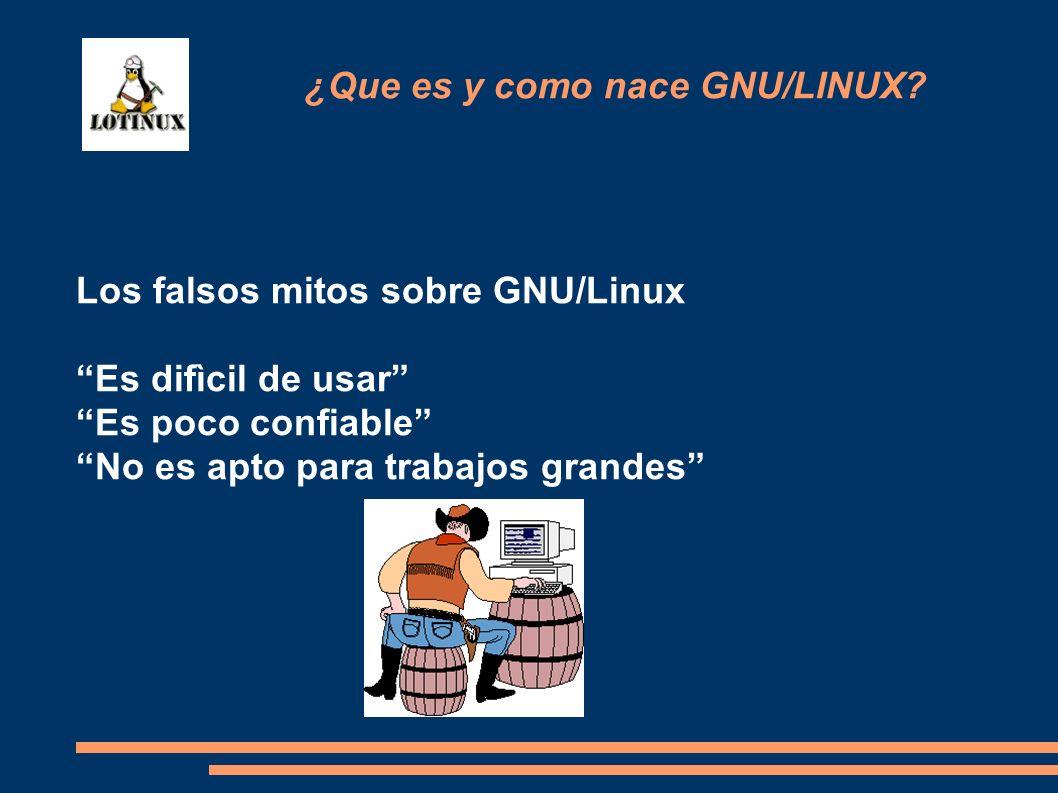 Los falsos mitos sobre GNU/Linux Es difìcil de usar Es poco confiable No es apto para trabajos grandes