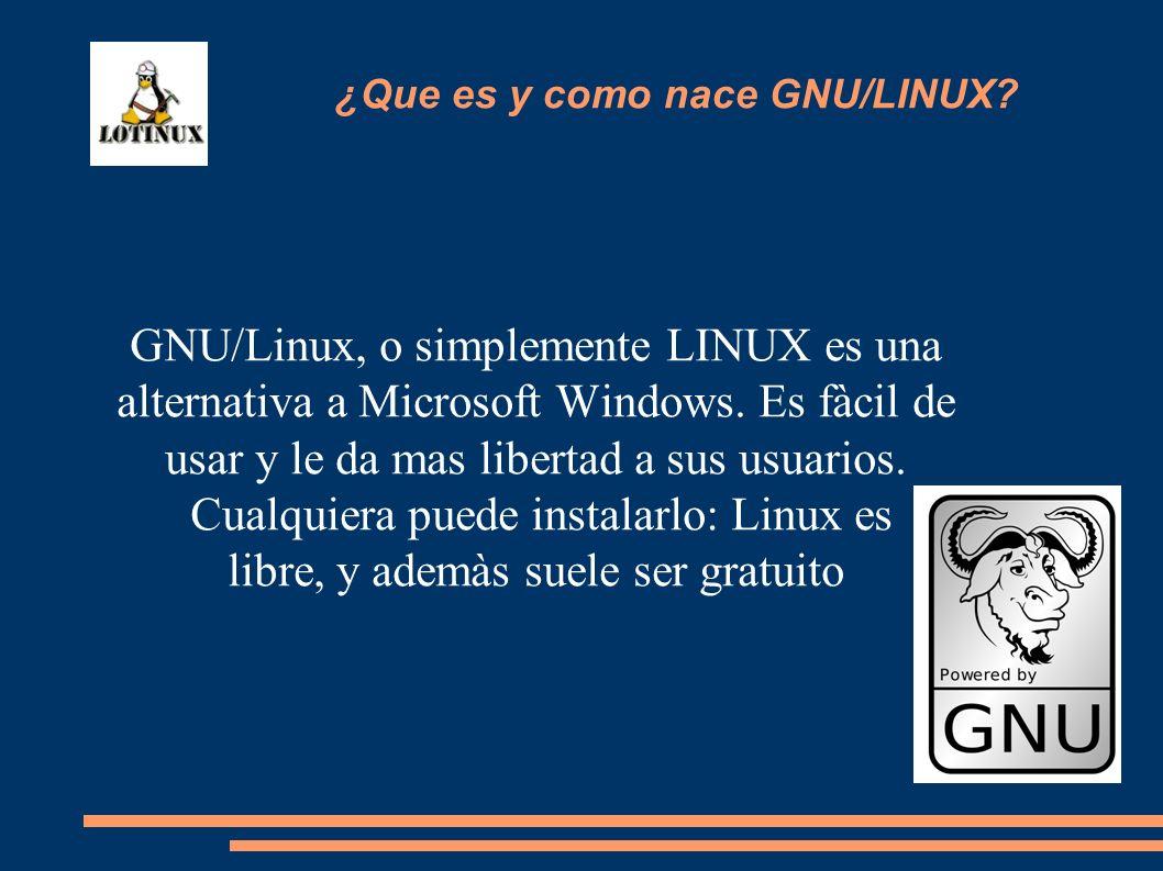 GNU/Linux, o simplemente LINUX es una alternativa a Microsoft Windows. Es fàcil de usar y le da mas libertad a sus usuarios. Cualquiera puede instalar
