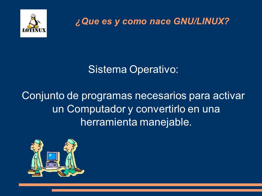 Sistema Operativo: Conjunto de programas necesarios para activar un Computador y convertirlo en una herramienta manejable. ¿Que es y como nace GNU/LIN