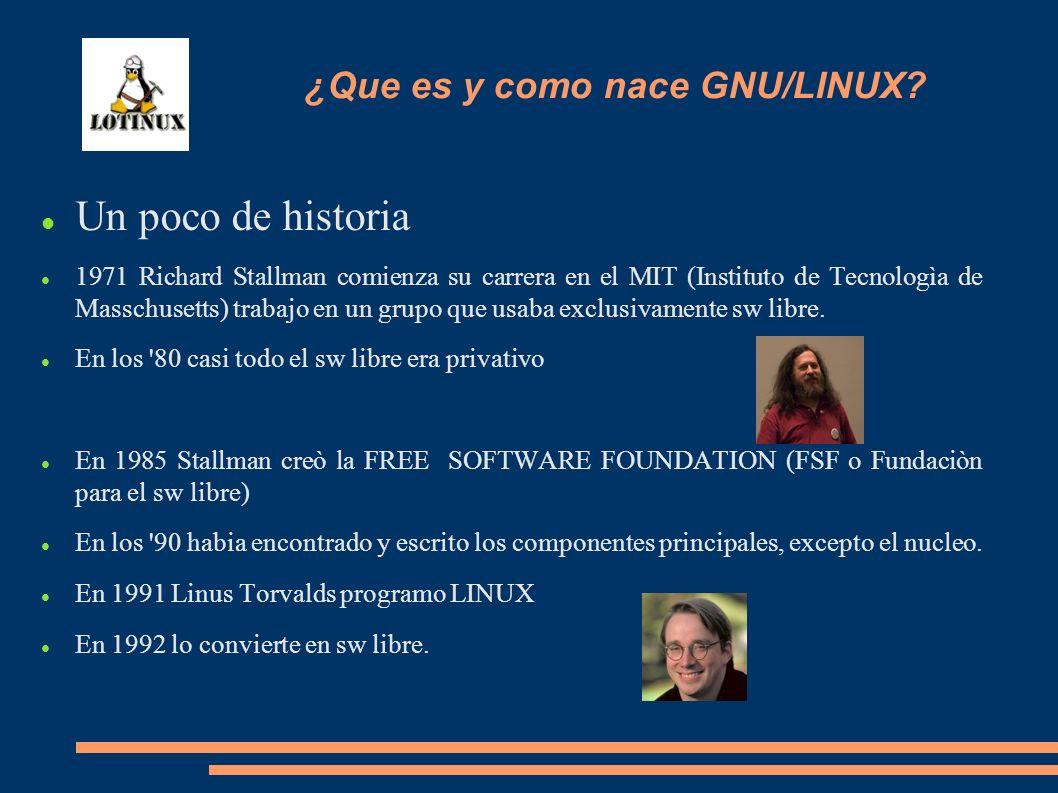 Un poco de historia 1971 Richard Stallman comienza su carrera en el MIT (Instituto de Tecnologìa de Masschusetts) trabajo en un grupo que usaba exclus