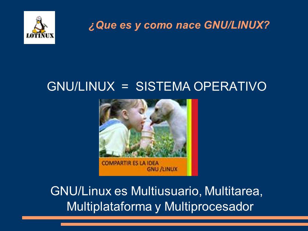 GNU/LINUX = SISTEMA OPERATIVO GNU/Linux es Multiusuario, Multitarea, Multiplataforma y Multiprocesador ¿Que es y como nace GNU/LINUX?