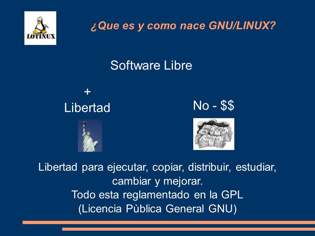 Software Libre + Libertad No - $$ Libertad para ejecutar, copiar, distribuir, estudiar, cambiar y mejorar. Todo esta reglamentado en la GPL (Licencia