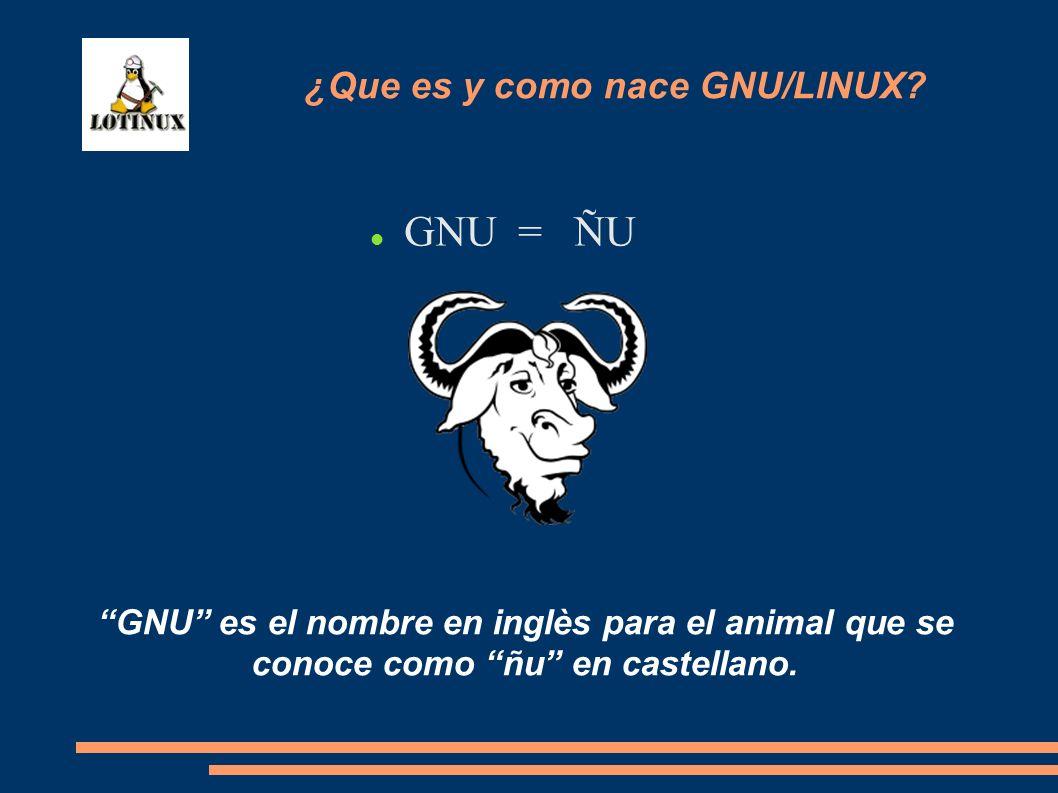 GNU = ÑU GNU es el nombre en inglès para el animal que se conoce como ñu en castellano. ¿Que es y como nace GNU/LINUX?