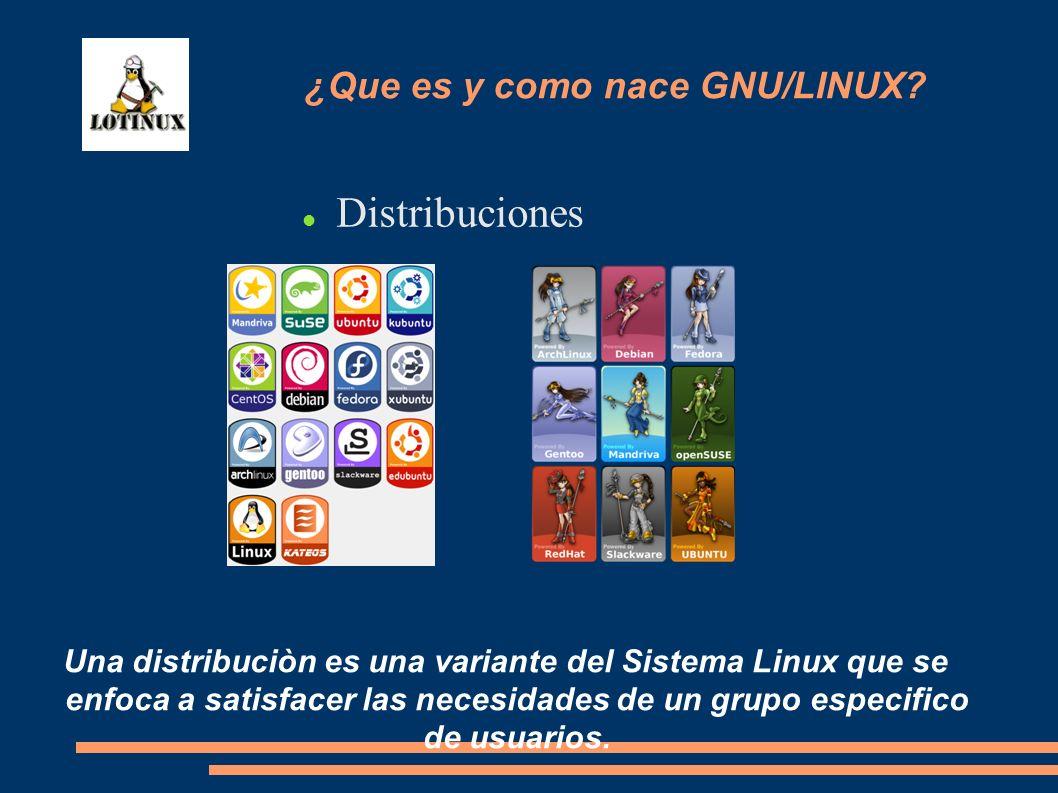 Distribuciones Una distribuciòn es una variante del Sistema Linux que se enfoca a satisfacer las necesidades de un grupo especifico de usuarios. ¿Que
