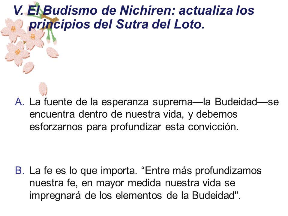A.La fuente de la esperanza supremala Budeidadse encuentra dentro de nuestra vida, y debemos esforzarnos para profundizar esta convicción. B.La fe es