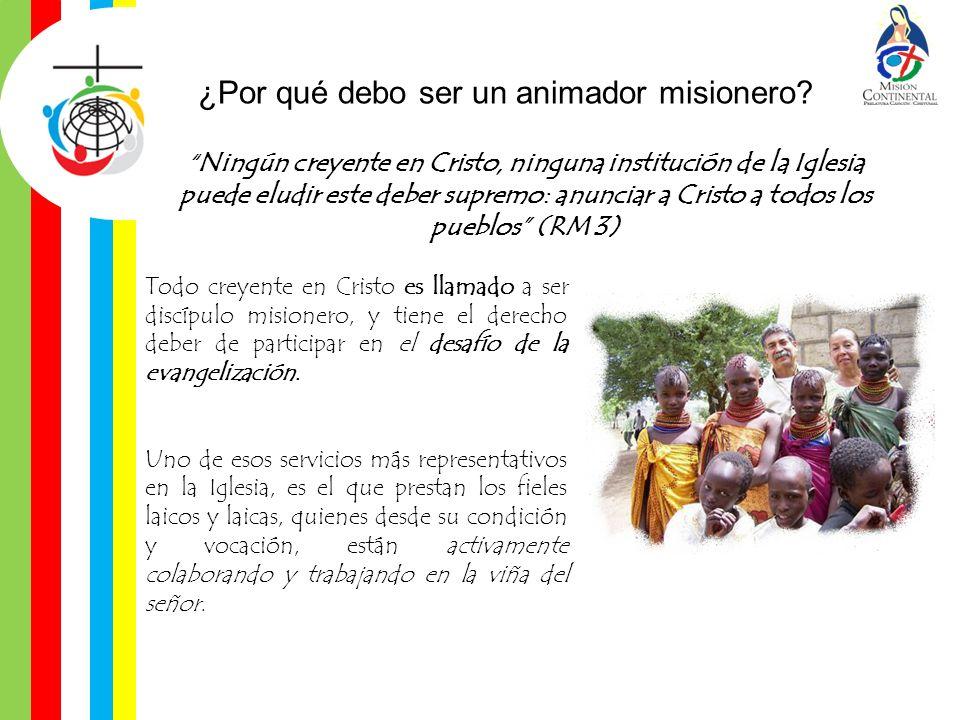¿Por qué debo ser un animador misionero? Ningún creyente en Cristo, ninguna institución de la Iglesia puede eludir este deber supremo: anunciar a Cris