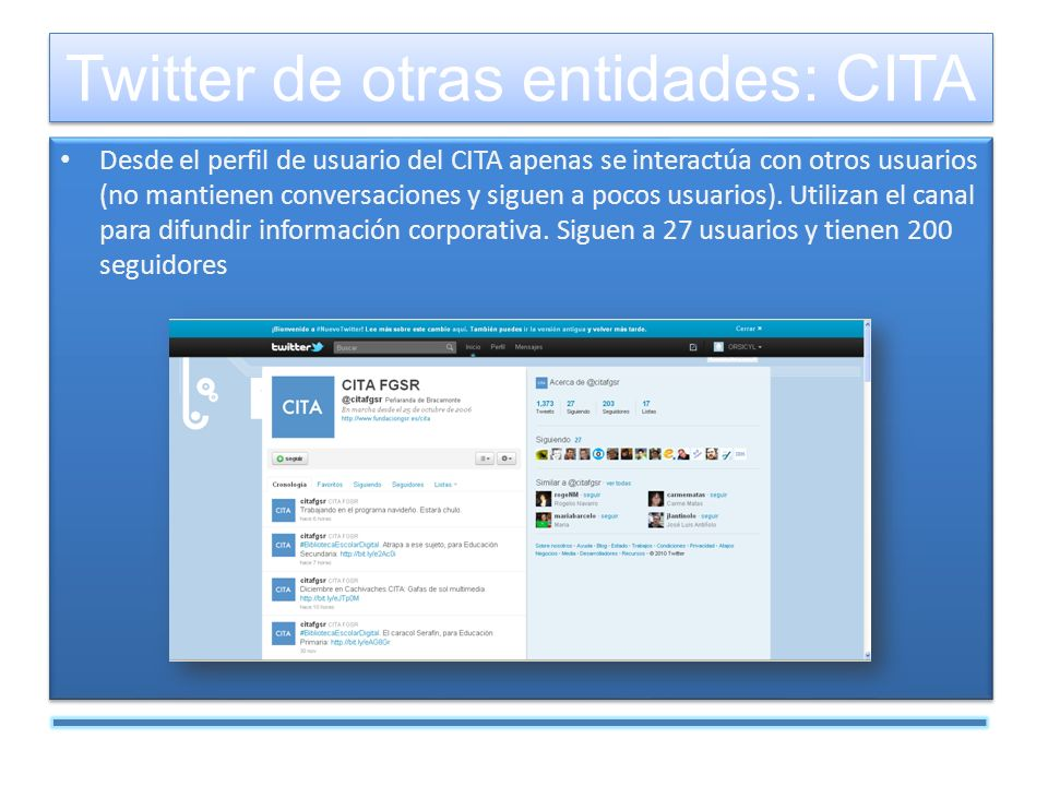 Desde el perfil de usuario del CITA apenas se interactúa con otros usuarios (no mantienen conversaciones y siguen a pocos usuarios).