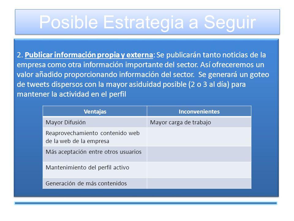 2. Publicar información propia y externa: Se publicarán tanto noticias de la empresa como otra información importante del sector. Así ofreceremos un v