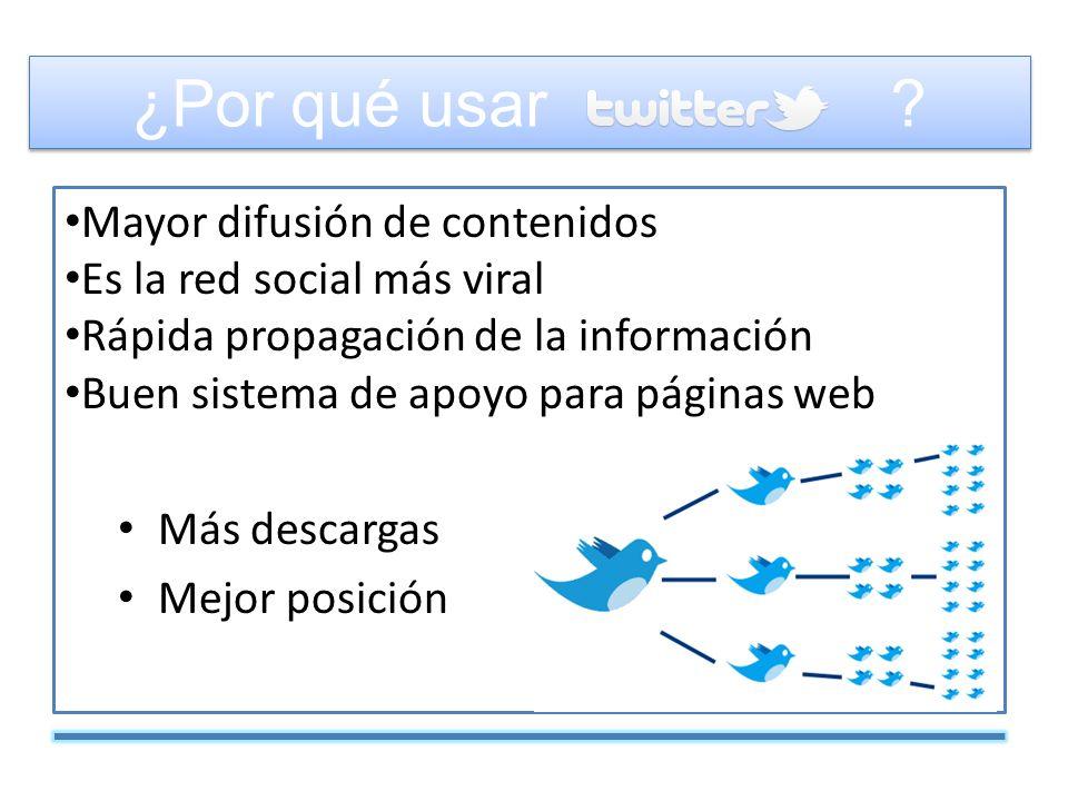 Mayor difusión de contenidos Es la red social más viral Rápida propagación de la información Buen sistema de apoyo para páginas web Más visitas Más descargas Mejor posición ¿Por qué usar