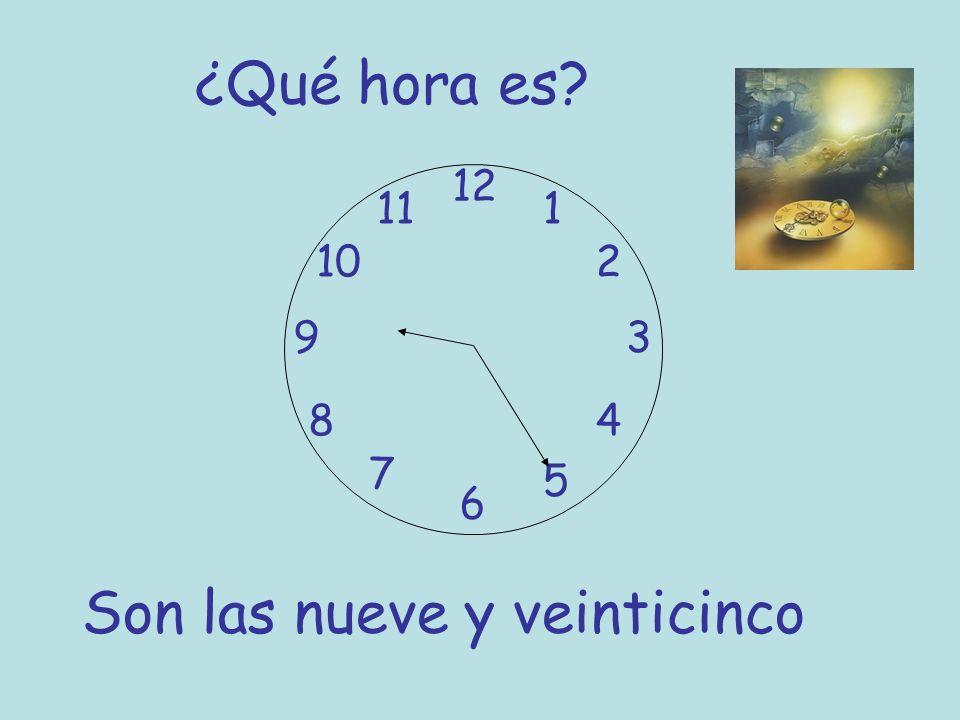¿Qué hora es? 12 6 93 8 7 1 2 5 4 10 11 Son las nueve y veinticinco