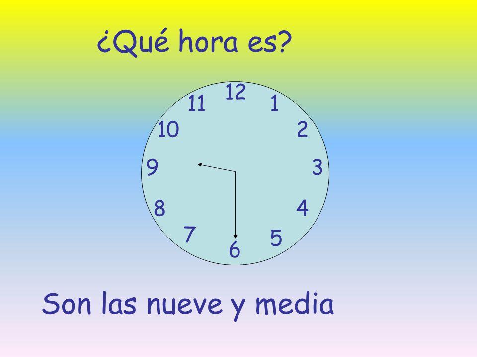 ¿Qué hora es? 12 6 93 8 7 1 2 5 4 10 11 Son las nueve y media