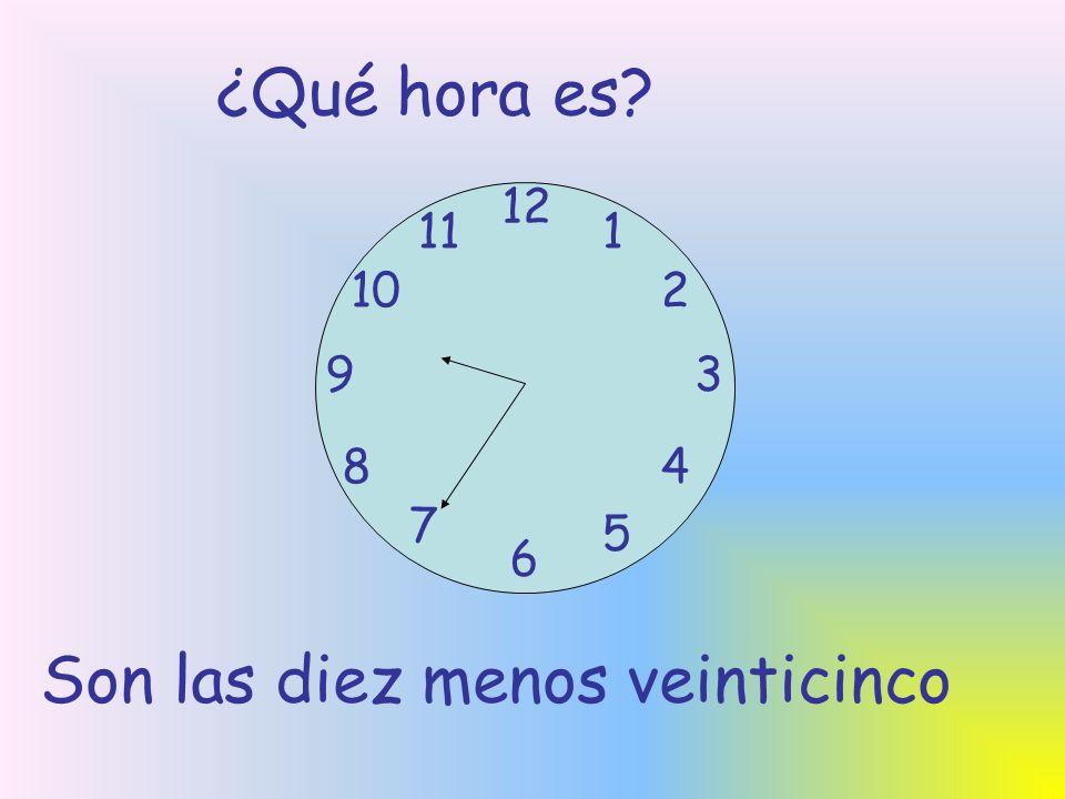 ¿Qué hora es? 12 6 93 8 7 1 2 5 4 10 11 Son las diez menos veinticinco