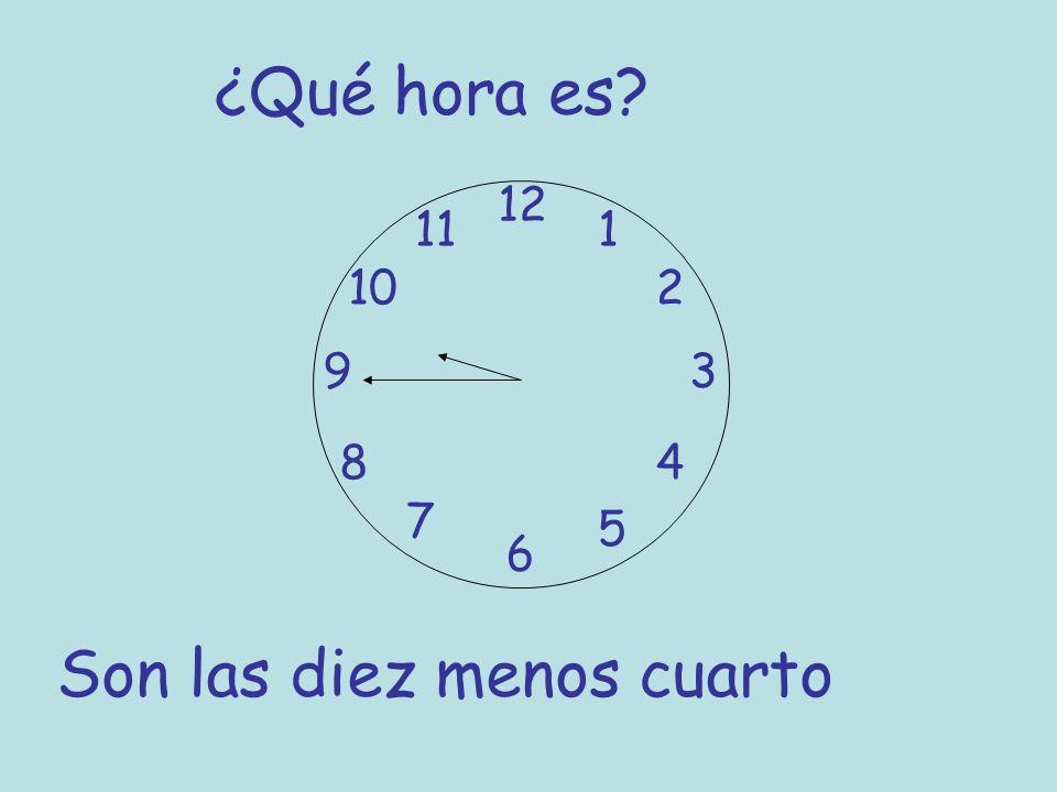 ¿Qué hora es? 12 6 93 8 7 1 2 5 4 10 11 Son las diez menos cuarto