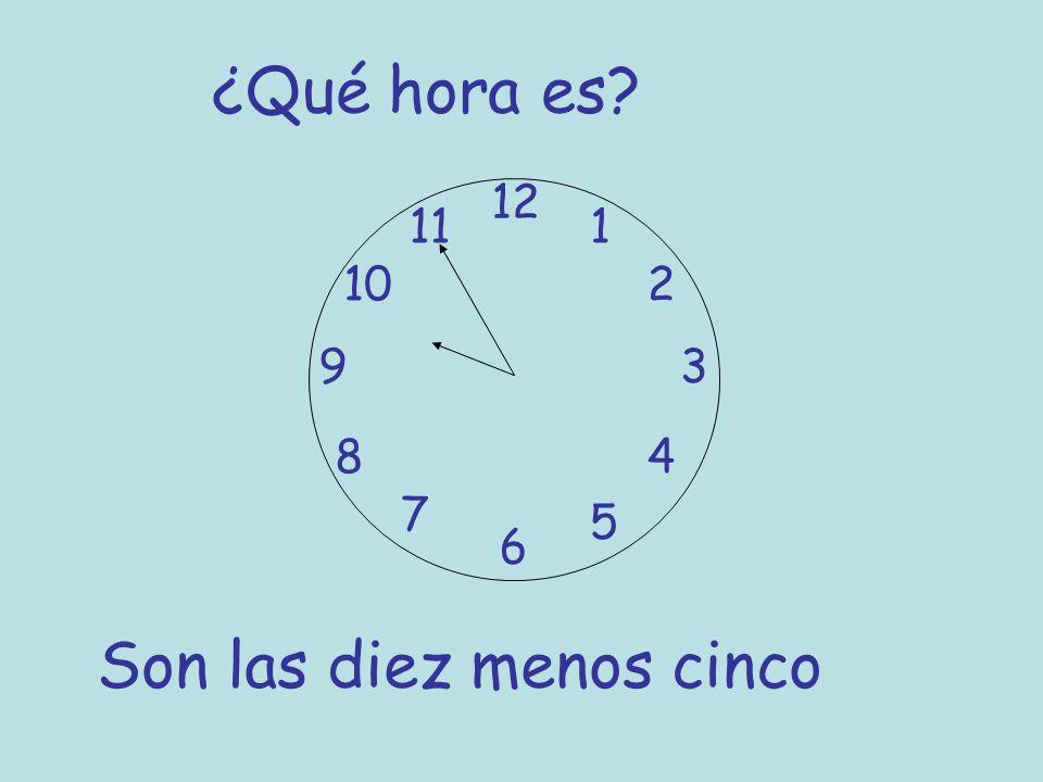 ¿Qué hora es? 12 6 93 8 7 1 2 5 4 10 11 Son las diez menos cinco