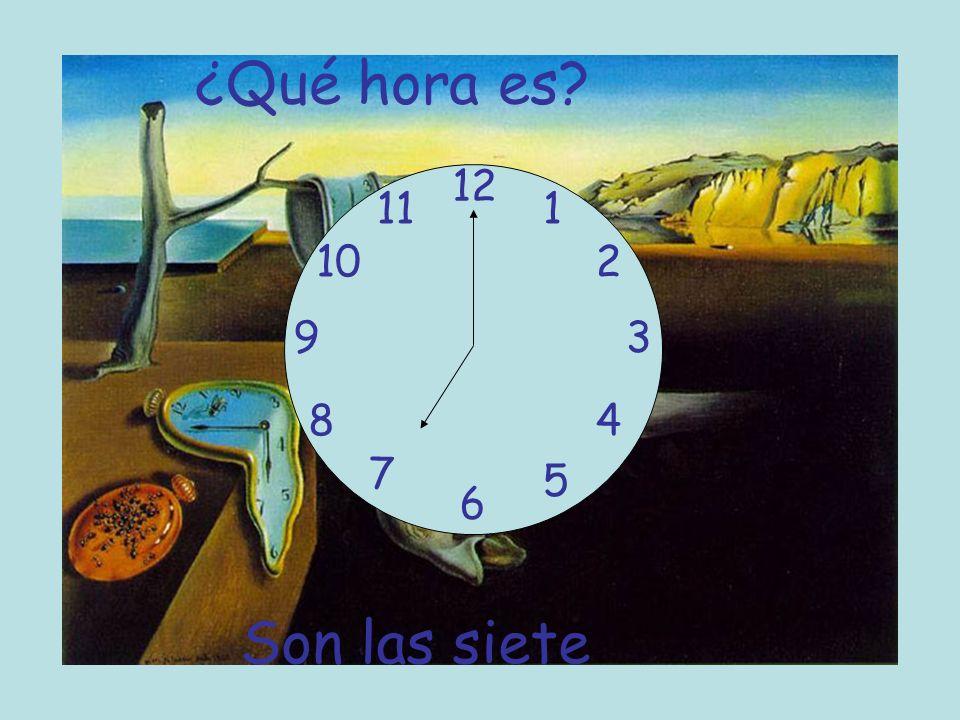 1) 3:00 2) 6:10 3) 8: 15 4) 7: 30 5) 1: 20 6) 4: 45 7) 6: 55 Son las tres Son las seis y diez Son las ocho y cuarto Son las siete y media Es la una y veinte Son las cinco menos cuarto Son las siete menos cinco