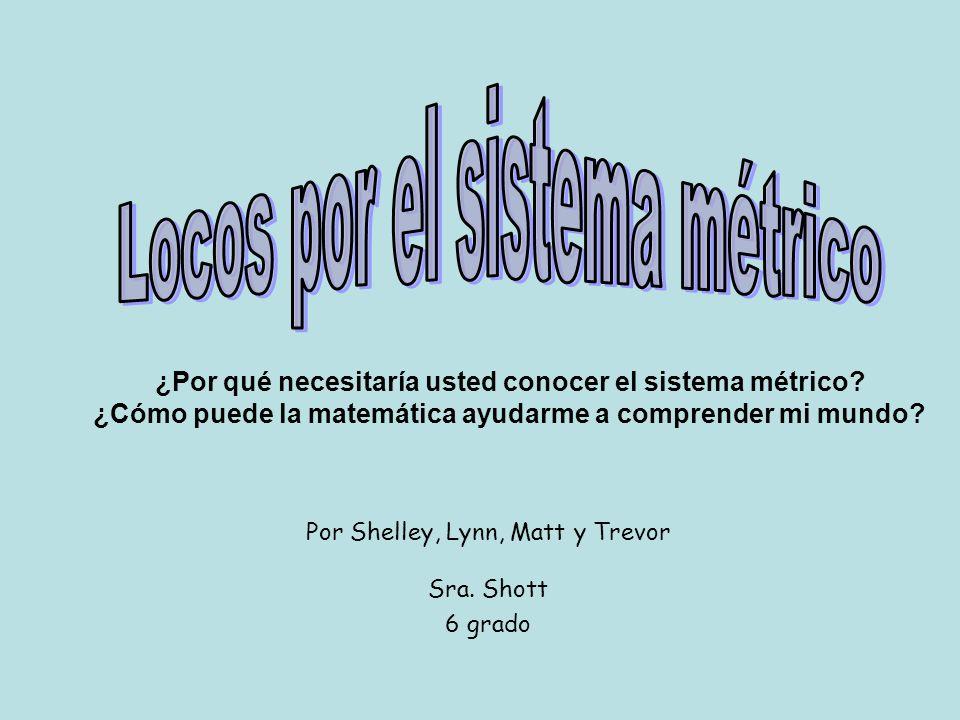 Por Shelley, Lynn, Matt y Trevor Sra. Shott 6 grado ¿Por qué necesitaría usted conocer el sistema métrico? ¿Cómo puede la matemática ayudarme a compre
