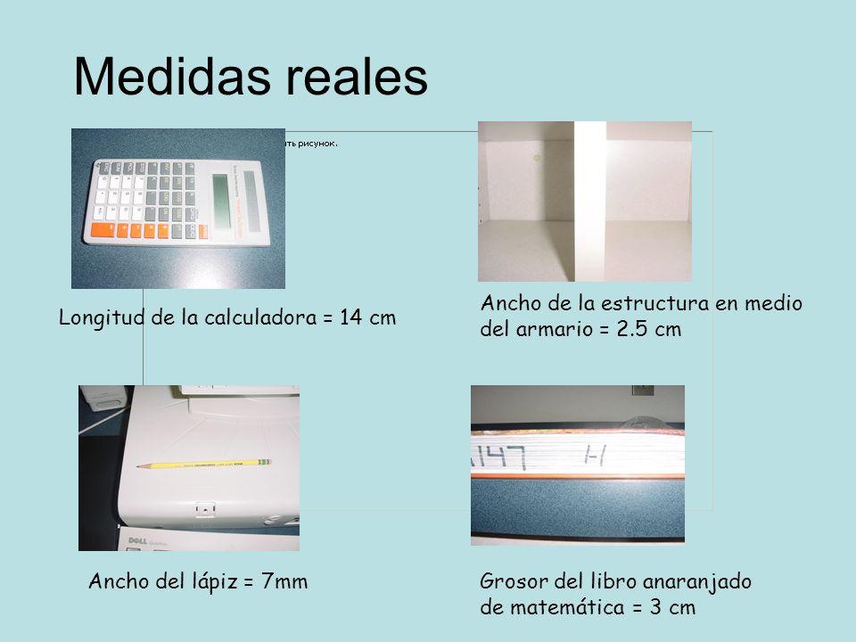 Medidas reales Ancho del lápiz = 7mm Longitud de la calculadora = 14 cm Ancho de la estructura en medio del armario = 2.5 cm Grosor del libro anaranja