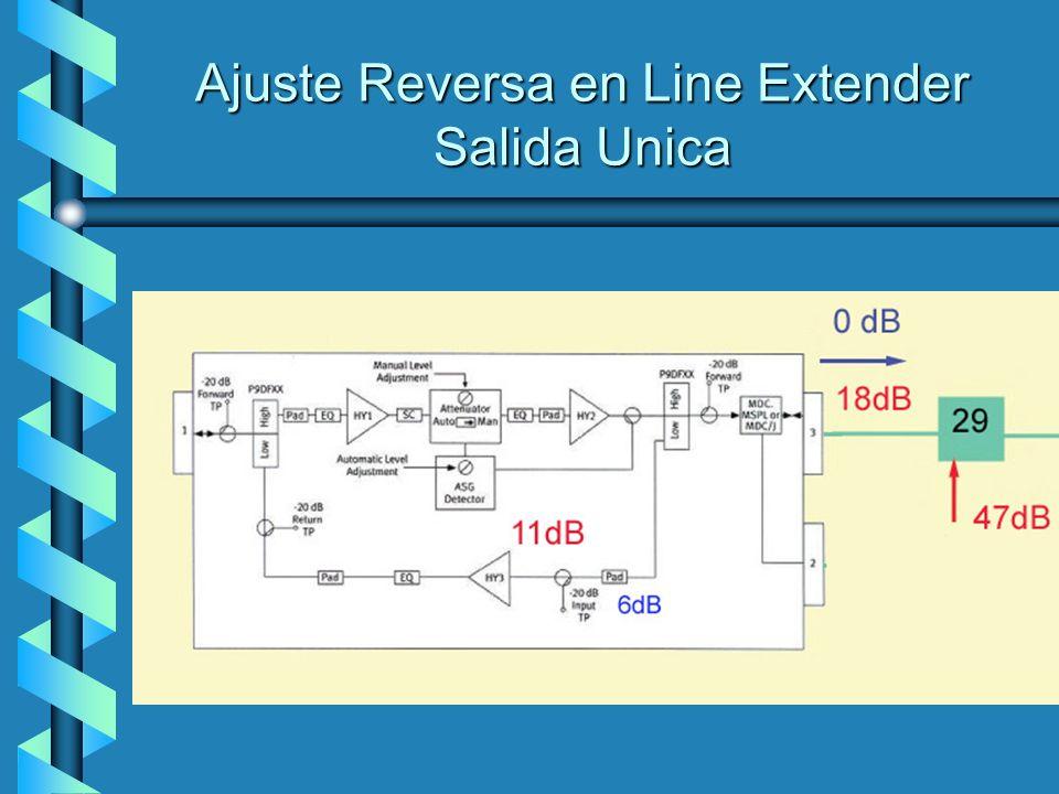 Ajuste Reversa en Line Extender Salida Unica