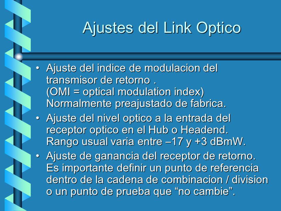 Ajustes del Link Optico Ajuste del indice de modulacion del transmisor de retorno. (OMI = optical modulation index) Normalmente preajustado de fabrica