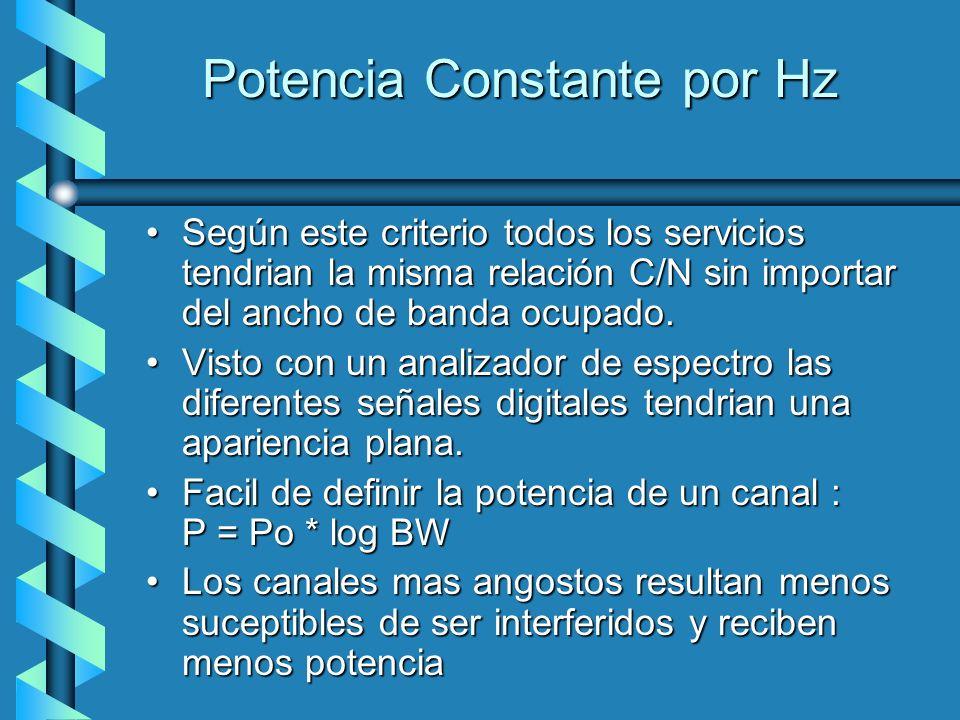 Potencia Constante por Hz Según este criterio todos los servicios tendrian la misma relación C/N sin importar del ancho de banda ocupado.Según este cr