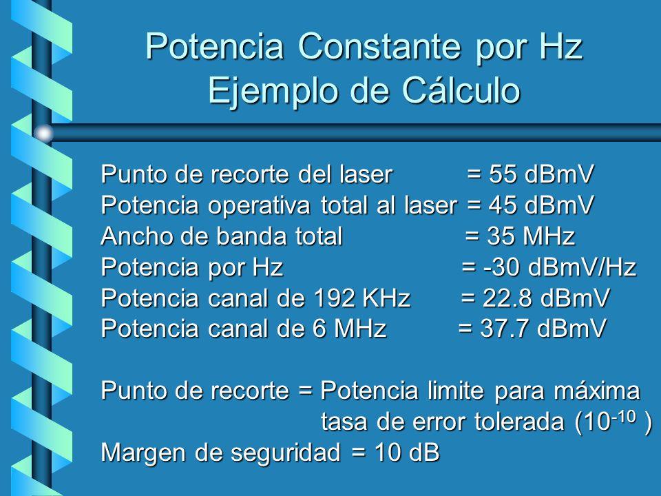 Potencia Constante por Hz Ejemplo de Cálculo Punto de recorte del laser = 55 dBmV Potencia operativa total al laser = 45 dBmV Ancho de banda total = 3