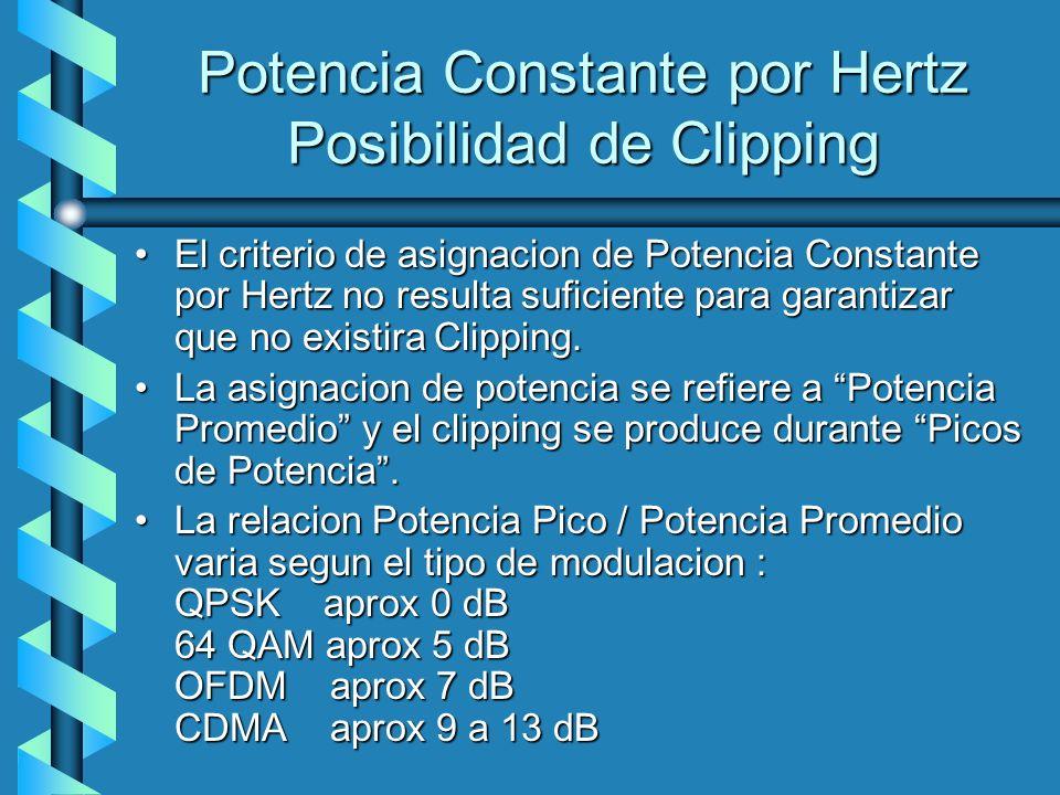 Potencia Constante por Hertz Posibilidad de Clipping El criterio de asignacion de Potencia Constante por Hertz no resulta suficiente para garantizar q