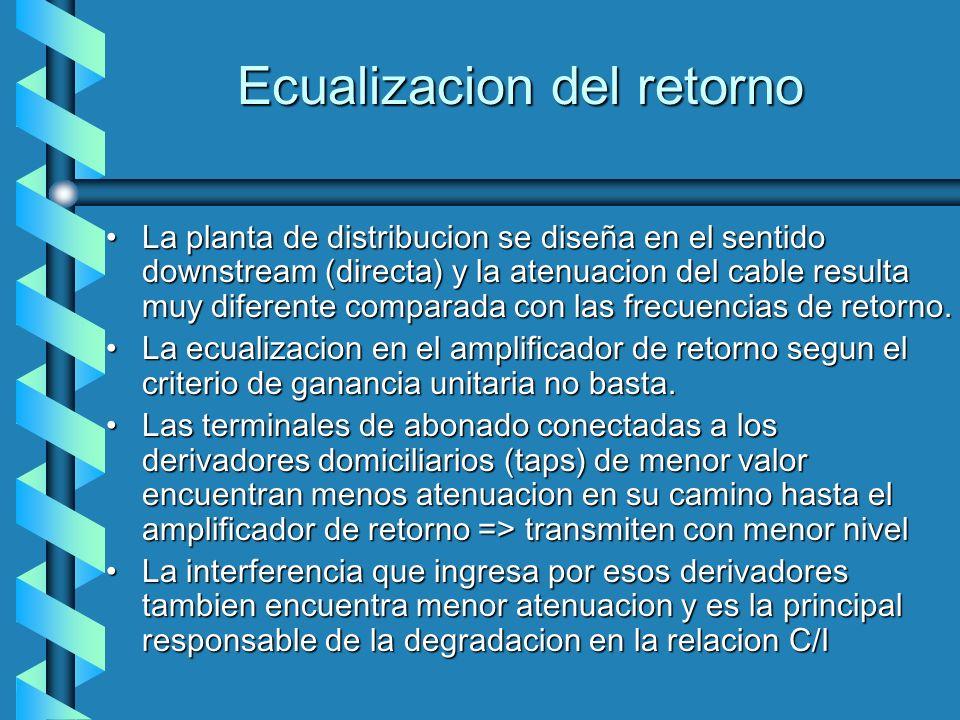 Ecualizacion del retorno La planta de distribucion se diseña en el sentido downstream (directa) y la atenuacion del cable resulta muy diferente compar
