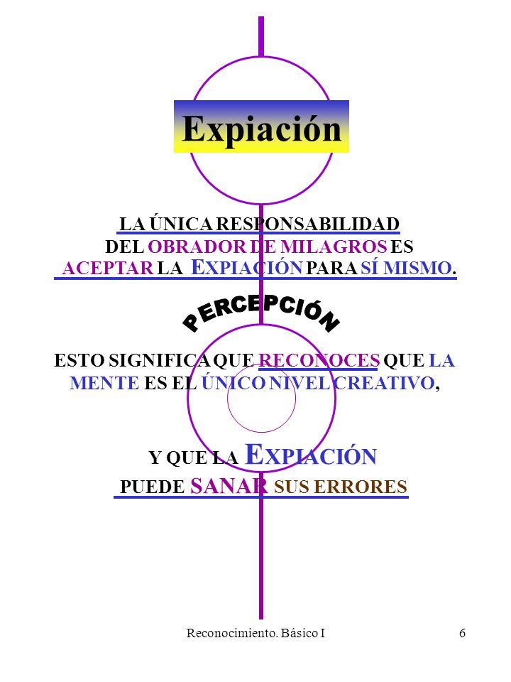 Reconocimiento. Básico I6 Expiación LA ÚNICA RESPONSABILIDAD DEL OBRADOR DE MILAGROS ES ACEPTAR LA E XPIACIÓN PARA SÍ MISMO. ESTO SIGNIFICA QUE RECONO