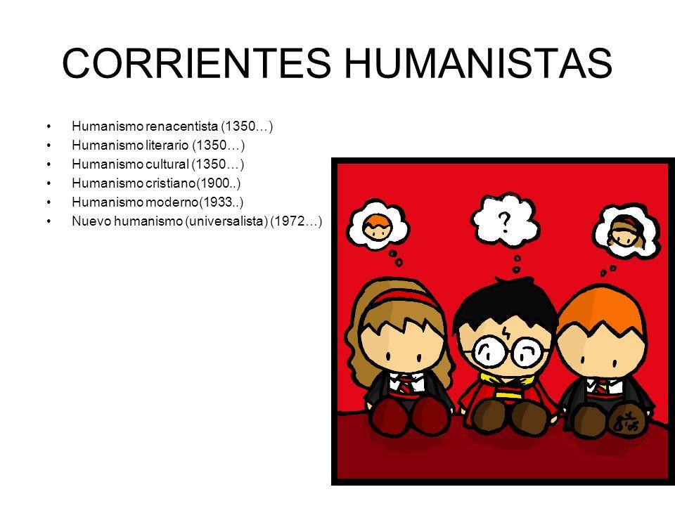 CORRIENTES HUMANISTAS Humanismo renacentista (1350…) Humanismo literario (1350…) Humanismo cultural (1350…) Humanismo cristiano(1900..) Humanismo mode