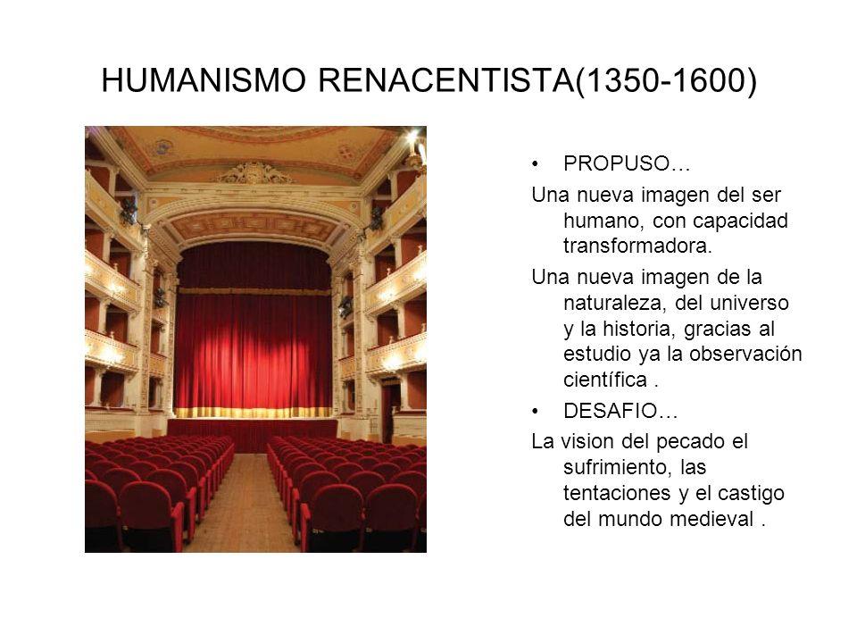 HUMANISMO RENACENTISTA(1350-1600) PROPUSO… Una nueva imagen del ser humano, con capacidad transformadora. Una nueva imagen de la naturaleza, del unive