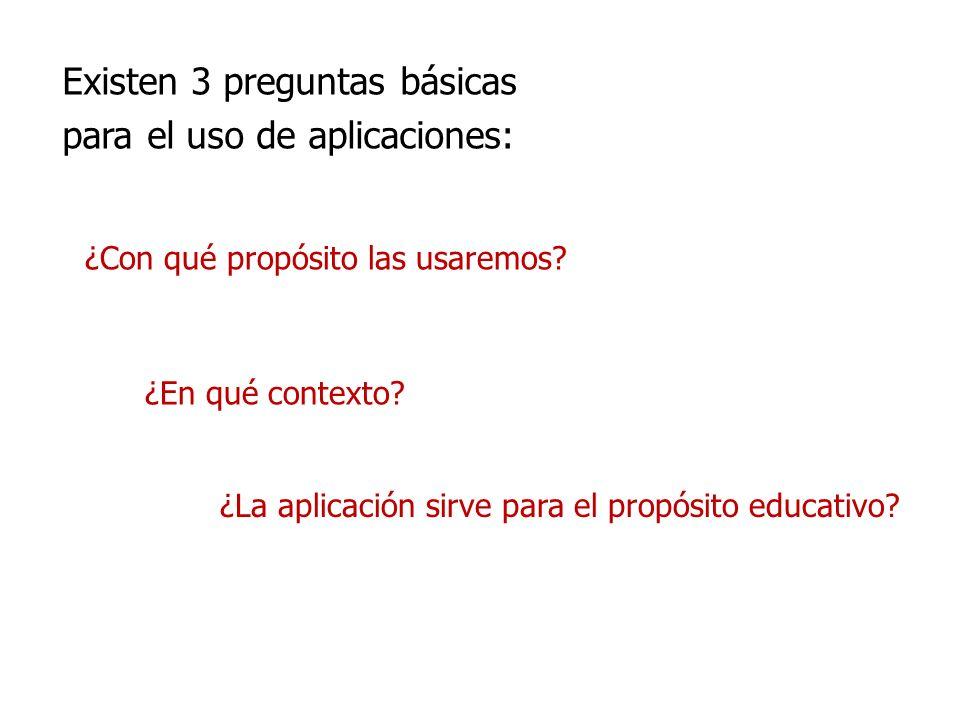 Existen 3 preguntas básicas para el uso de aplicaciones: ¿Con qué propósito las usaremos? ¿En qué contexto? ¿La aplicación sirve para el propósito edu