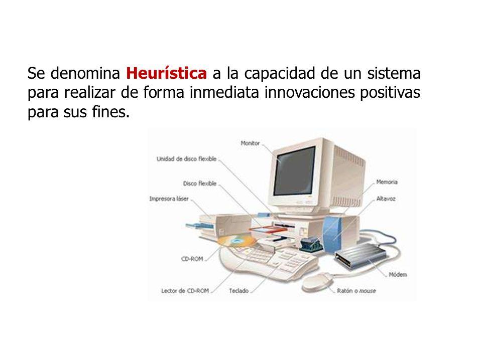 Se denomina Heurística a la capacidad de un sistema para realizar de forma inmediata innovaciones positivas para sus fines.