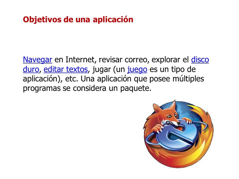 Objetivos de una aplicación NavegarNavegar en Internet, revisar correo, explorar el disco duro, editar textos, jugar (un juego es un tipo de aplicació
