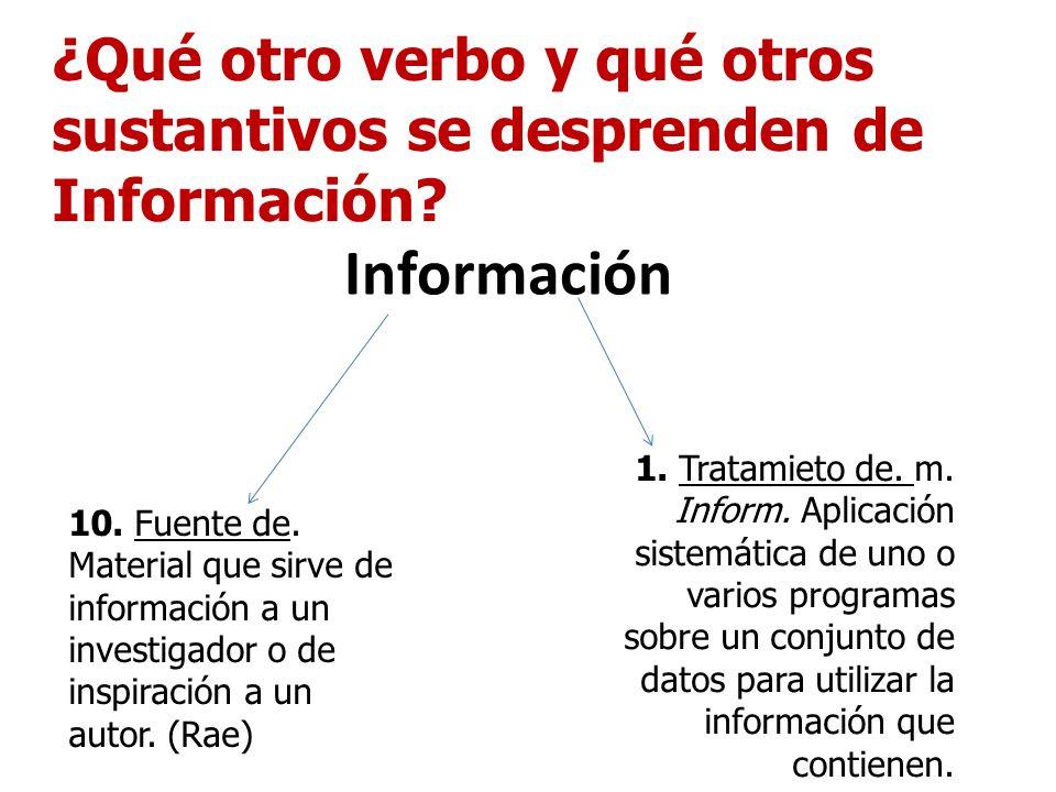 Información ¿Qué otro verbo y qué otros sustantivos se desprenden de Información? 10. Fuente de. Material que sirve de información a un investigador o
