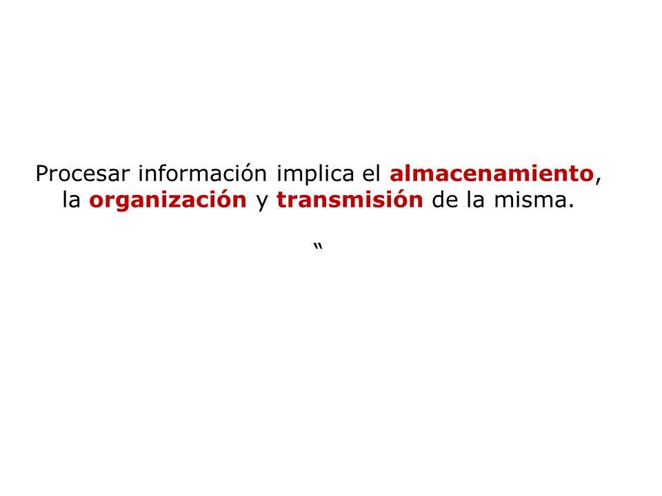 Procesar información implica el almacenamiento, la organización y transmisión de la misma.