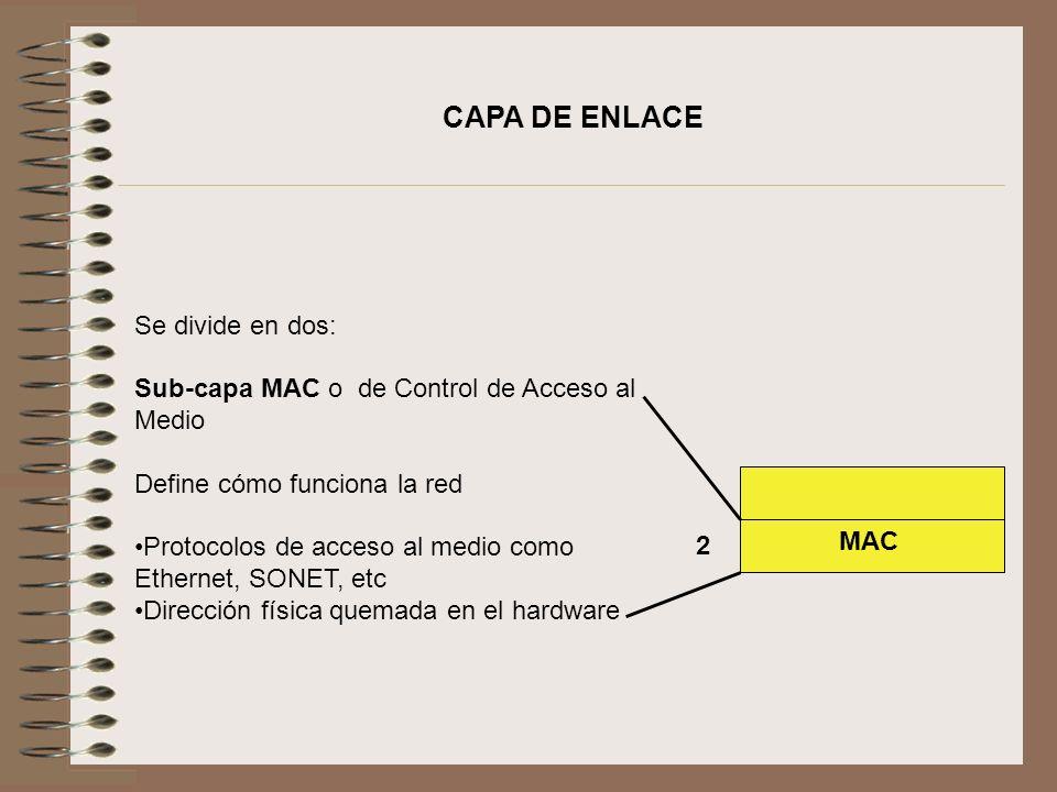 Se divide en dos: Sub-capa MAC o de Control de Acceso al Medio Define cómo funciona la red Protocolos de acceso al medio como Ethernet, SONET, etc Dir